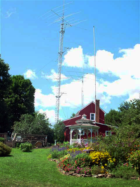 View from our back yard of the old tower and antennas
